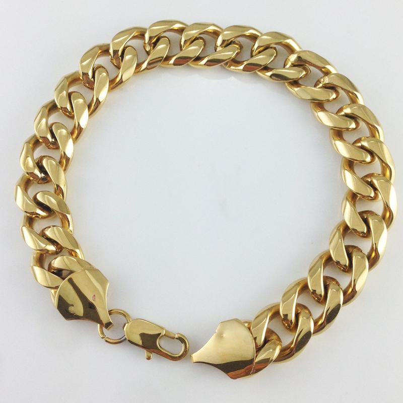 High quality 13mm Hip hop bracelets men s bracelets 18k gold plated bracelets bangles for men