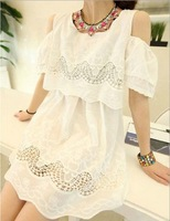 Summer dress new sweet and small pure and fresh Hollow out embroidery off-the-shoulder cotton dress,LYQ-32