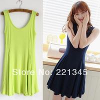 2013 spring candy color sleeveless slim waist big sweep tank dress one-piece dress