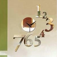 2014 New Modern Golden/Silver/Black Mirror Effect Digital Wall Clock DIY Sticker Clocks Watches Creative Design Home Decoration