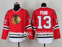 2014 free shipping chicago Blackhawks jersey #13 CM Punk youth Ice Hockey Jersey /shirt Embroidery Logos
