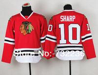 2014 free shipping chicago Blackhawks jersey # 10 patrick sharp youth Ice Hockey Jersey /shirt Embroidery Logos