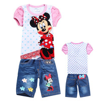 2014 New Summer Brand Children's Clothing Sets 100% Cotton Short T Shirt+Short kids clothes twinsets 035