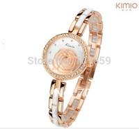 2014 new fashion kimio watch for women luxury brand dress watches with rose flower ladies gold dail quartz clock KW500S