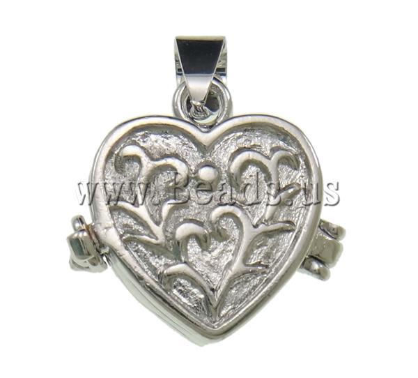 Free shipping!!!Brass Locket Pendants,2013 Jewelry, Heart, platinum color plated, nickel, lead & cadmium free, 16x24x7mm(China (Mainland))