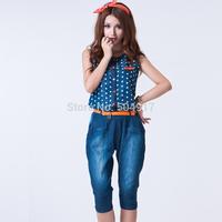 Free shipping 2014 new harem pants female Rompers Polka Dots Ladies high waist denim jeans short jumpsuit suspenders for women