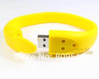 Real Capacity Only ! USB Drive 1GB 2GB 4GB 8GB 16GB 32GB Silicone PVC Rubber Wrist Band Memory Flash Stick Drive Yellow