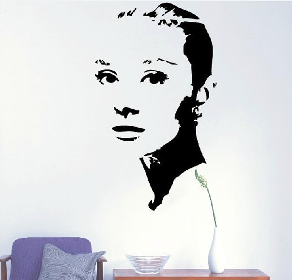 Audrey hepburn sticker mural chambre vintage for Audrey hepburn mural