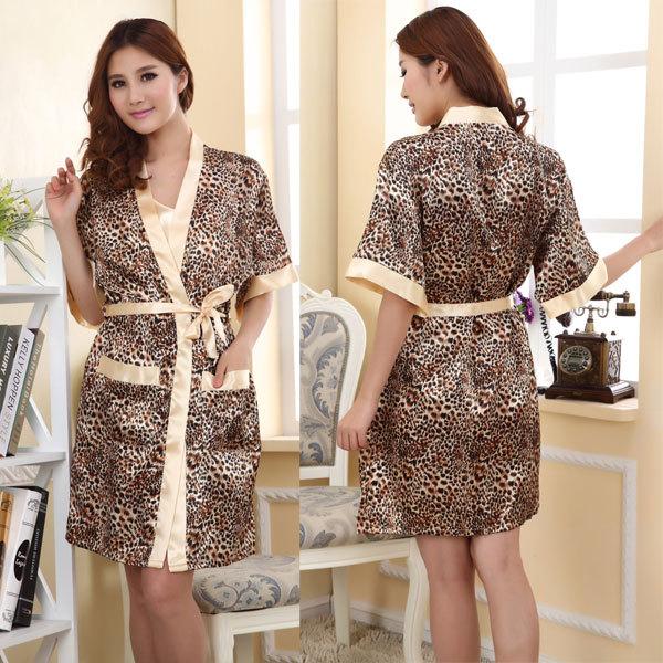 2014 summer pajama dress women's faux silk sleepwear female nightgown pyjama ladies sleep lounge leopard bath robe set a0424(China (Mainland))