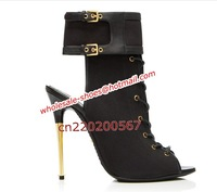Fashion Sexy High Heel Boots Fish Toe Black Nappa Leather Lace Up Ankle Boot With Metallic Heel