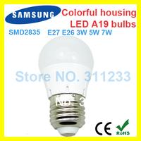 2014 new product Samsung smd 2835 led ball light bulbs A19 E27 3W 5W 7W