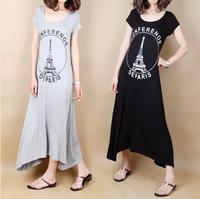 2014 Maternity clothing summer maternity dress fashion o-neck over-the-knee full dress fashion one-piece dress