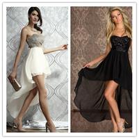 New 2014 Summer Clothing Fashion Mini Off Shoulder Sleeveless Sequined Irregular Elegant Party Evening Chiffon Dresses 850433