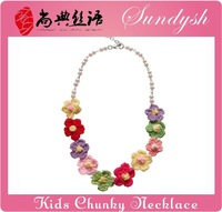 2014 Hot Sell Rainbow Color Crochet Flower Pearl Beads Kids Jewelry Babies Necklace For Sale