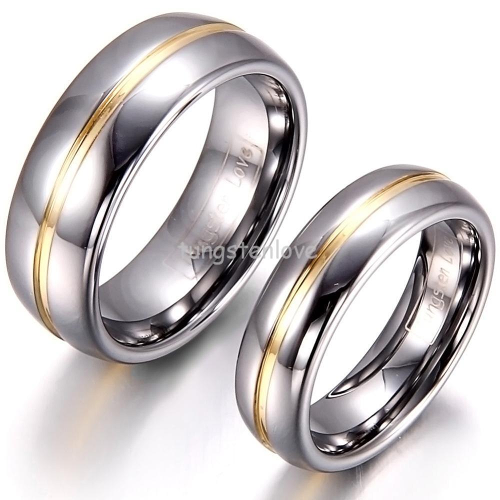 8mm/6mm zweifarbig herren damen paar gold Einsatz wolframcarbid ring ...