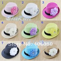 9 Colors Summer Flower Caps Baby Girls Straw Floral Fedora Hat Sun Hat Kids Holiday Beach Cap Jazz Cap 10pcs FH030