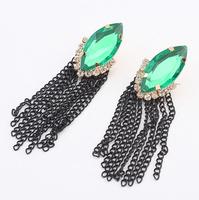 Free shipping kupe birakin hot sale 2014 vintage emerald earrings summer 2014 fashion ladies stylish black tassel drop earrings