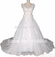 FairOnly New Style V Neck Appliques Court Train Romantic Wedding Dresses 2014