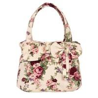 Free shipping 2014 Hot sale sweet totes for girls Small cute handbag Women's canvas handbags Makeup bags Printing canvas tote