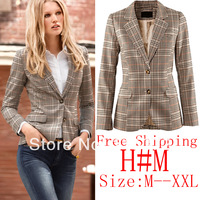 Spring 2014 casacos femininos Jackets Women Blazer Outwear Elegant Vintage Patchwork Sleeve Plaid Slim suit Jacket Blazer Women