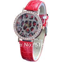 8 PCs/Set Elegant Leopard Face Crystal Jelly Women Quartz Wrist Watches
