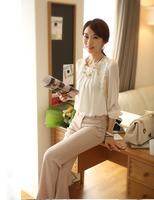 2014 women office lady Fashion Elegant white Lace Embroidered long sleeve chiffon blouse Tops shirt  free shipping E1422-30#S5