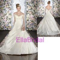 Romantic A-Line Chapel Train Sweetheart Long Sleeve Beading White Taffeta 2014 New Arrival Wedding Dresses Bridal Dress 507