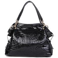 ( Black  ) Crocodile Embossing Handbag Split Leather Ladies' Handbag shoulder bag