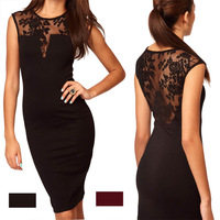 2014New FreeShipping Sexy Women Floral Slim Fit  Bodycon Party Clubwear Evening Cocktail Mini Dress Lace Stretch Dress E1417-P30