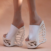16cm bling bling princess wedges sandals glossy women's platform shoes ultra high heels open toe cutout female sandals