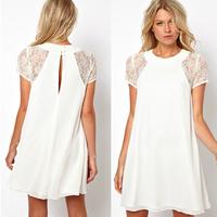 Womens Chiffon OL Lace Short Sleeves Mini Dress Back Hollow White Dress