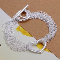 Luxury Fashion 925 Silver Bracelet Jewelry ! Trendy Women Men Beautiful Heart Mesh TO Clasp Chain Bracelets H066