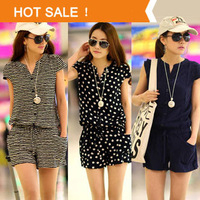 2014 New Summer Women's Casual Short Sleeve V neck Elastic Waist Jumpsuits & Rompers Blue Striped Dots Overalls Plus Size XXXXL
