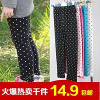 2014 autumn and winter dot legging child female child baby 100% cotton velvet plus velvet trousers