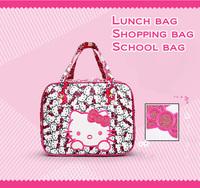2014 New arrived Multifunctional handbags Women's fashion lunch bag Hello kitty lunch box bag Cartoon Cute schoolbag makeup bags