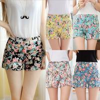 2014 Designer Flower Pattern Floral Elastic High Waist Women Pants Mini Trouser Ladies ShortsLadies Shorts Pants