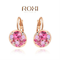 ROXI exquisite rose-gold plated big ball earrings,fashion jewelrys for women,zircons,factory price,Christmas gifts