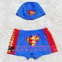 Super man style child swimming pants male child boxer swimming trunk swim trunks swimming cap