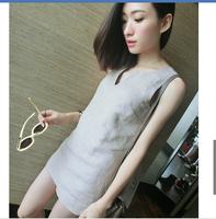 3229 women's summer hemp V-neck set vest shorts brief ol casual clothing unique