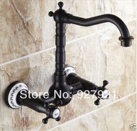US Free Shipping Wholesale and Retail Euro Retro Style Kitchen Sink Faucets Oil Rubbed Bronze Wall Mounted Kitchen Taps