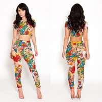 2014 New Fashion Floral Print Elegant Two pieces Sexy Club Jumpsuits Rompers Overalls Bodysuits Women Outfit Ladies KN063