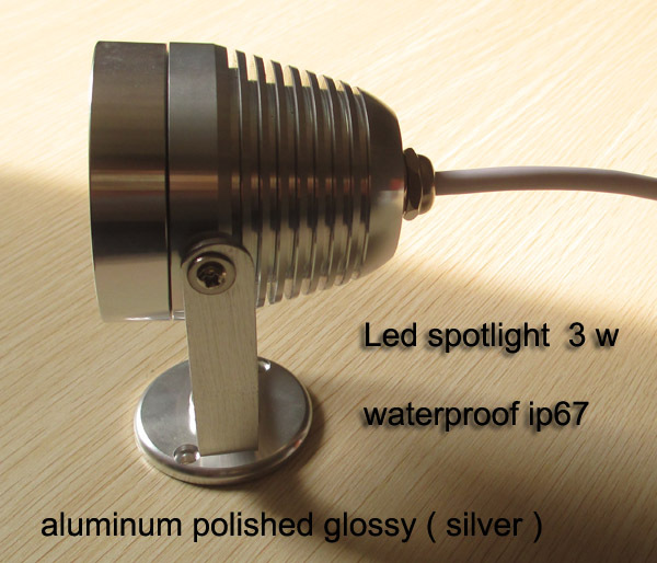 Spotlight silver aluminum polished glossy 3w waterproof ip67 applied to outdoor or indoor lighting,warm white or rgb changing(China (Mainland))
