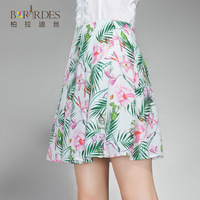 Chiffon A-line skirt 2014 new summer fashion wild Short skirts pleated skirt zipper white printing