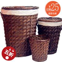 Wicker rattan storage bucket storage basket handmade wicker laundry bucket circle storage basket rattan