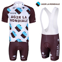 2014AG2R version of the Tour de France team jersey short-sleeved suit strap breathable jersey men's summer