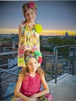 Hot sale!High quality 2014 New children's faux silk vest fashion dress baby Fashion printing dress designer kids dress for girl