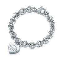 Classic New 925 sterling Silver Heart Lock Lobster Claps Jewelry Bracelet with Velvet Pouch bag
