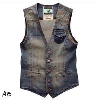 2014 summer trend slim men's clothing vest male casual denim vest male denim vest fashion gilet 11-MJ120