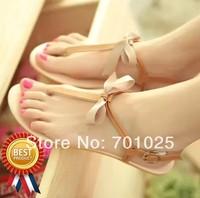 Fashion cow muscle outsole pinch women flat sandals gold belt t word lengxinghuabu flip-flop flat heel female t