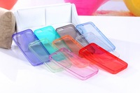 1000PCS Wholesale New Crystal Transparent Soft Silicon Full TPU Clear Cover Case for iPhone 5 5S With Dustproof Plug